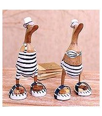bamboo root and wood sculptures, 'beachside ducks' (pair) (indonesia)