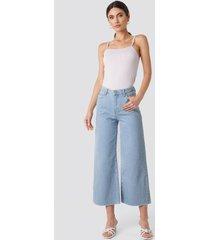 trendyol high waist wide leg jeans - blue