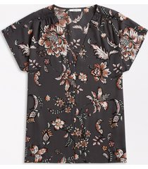 maurices plus size womens gray floral button down short sleeve blouse