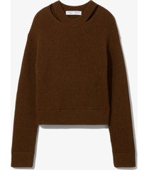 proenza schouler white label chunky rib knit sweater fatigue mouline/brown l