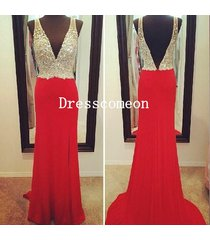 luxury sheath deep v-neck red sequins evening prom dress,party /formal dress