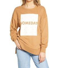 women's vero moda marlie organic cotton graphic sweatshirt, size medium - brown