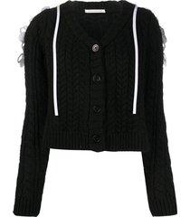 cecilie bahnsen cape-detail cardigan - black