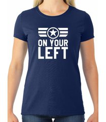 "captain america ""on your left"" women's tee"
