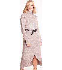 swetrowa sukienka z golfem estelle coffee