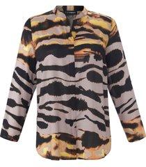 blouse met lange mouwen van doris streich multicolour