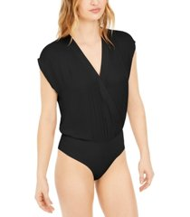bar iii surplice-neck thong bodysuit, created for macy's