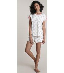 pijama feminino estampado catcórnio manga curta off white