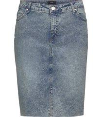 skirt slit plus button zip pockets knälång kjol blå zizzi