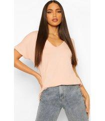 tall oversized t-shirt met v-hals, blush