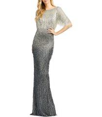 women's mac duggal beaded fringe gown, size 18 - metallic