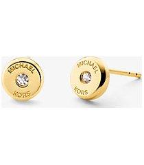 mk orecchini a bottone in argento sterling placcato oro 14k con diamante sintetico e logo - oro (oro) - michael kors