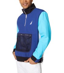nautica men's colorblocked logo-print 1/4-zip jacket