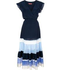 altuzarra judy panelled belted dress - blue