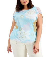 alfani plus size printed ruched-shoulder top, created for macy's