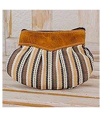 leather-accented cotton clutch handbag, 'modern mocha' (guatemala)