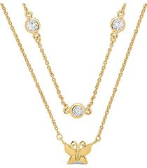 14k yellow goldplated butterfly & crystal layered necklace