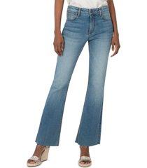 women's kut from the kloth stella high waist fray hem flare jeans, size 4 - blue