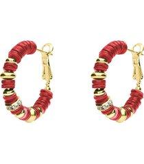 orecchini a cerchio in ottone dorato con elementi in conchiglia rossi e strass chiusura in argento per donna