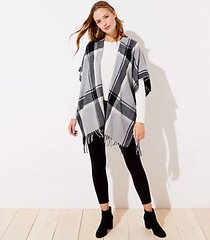 loft plaid fringed poncho wrap