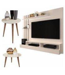 conjunto sala com painel outlet / mesa de centro e lateral cissa - off white - rpm móveis
