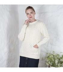 ladies aran cable pocket sweater cream small