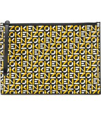 kenzo logo print leather clutch bag - yellow