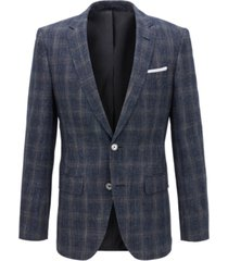 boss men's slim-fit checked blazer