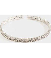 women's daphne crystal bangle bracelet in silver by francesca's - size: one size