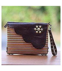 leather accent cotton wristlet, 'linear landscape in brown' (indonesia)