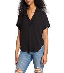 women's all in favor button back top, size x-small - black