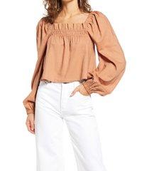 women's open edit long sleeve linen blend blouse, size x-large - brown