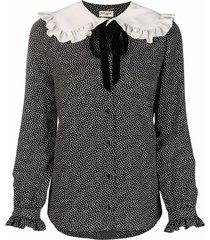 saint laurent peter pan-collar polka-dot blouse