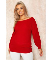 plus slash neck oversized sweater, red