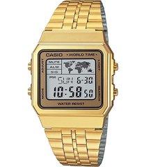 reloj casio retro world time casio a-500wga-9d para caballero- dorado
