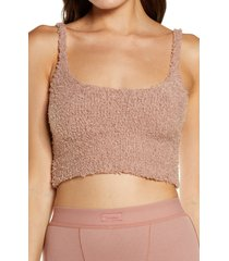 skims cozy knit crop camisole, size large in rose clay at nordstrom
