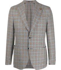 lardini checked fine knit blazer - brown
