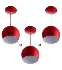 kit 3 lustres pendente bola média alumínio 23cm vermelho