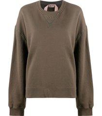 nº21 lace-panel sweatshirt - green