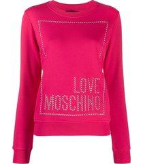 love moschino studded logo sweatshirt - pink