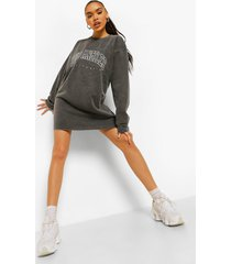 gebleekte los angeles sweatshirt jurk, charcoal