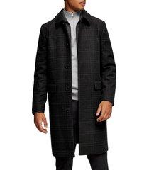 men's topman classic fit check wool coat