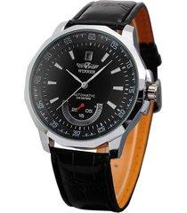 ganador calendario diseño automático reloj mecánico de la correa de cuero negro