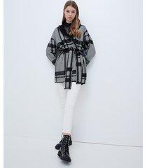 motivi cappotto in maglia fantasia check donna nero
