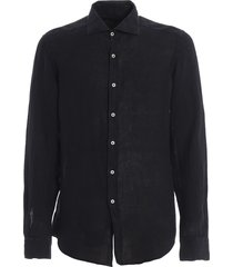 fay dark blue linen shirt