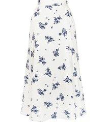 alessandra rich ditsy floral-print a-line silk skirt - white