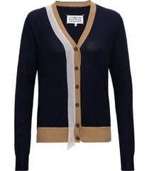maison margiela wool and cotton cardigan with contrasting profiles