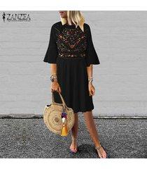 zanzea nuevo de las mujeres de la impresión floral de la colmena de la llamarada de la manga del vestido de la playa del verano vestidos de festivo -negro