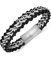 inc men's stainless steel & faux-leather woven magnetic bracelet, created for macy's