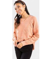 keri heart bobble pullover sweater - blush